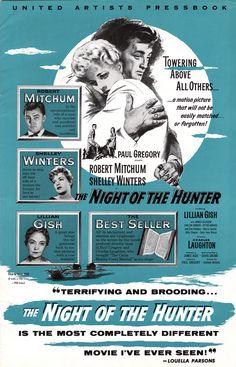 The Night of the Hunter.  Charles Laughton 1955.  Robert Mitchum, Shelley Winters, Lilliam Gish. TCM.com