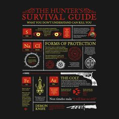 THE HUNTERS SURVIVAL GUIDE T-Shirt $12 Supernatural tee at Once Upon a Tee!