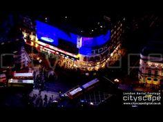 London Aerial Footage - Picadilly Circus at Night London Bridge, London City, Aerial Footage, London Eye, Night