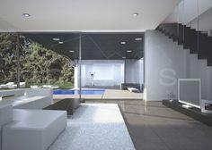 Modernes haus mit pool  Eingangsbereich modernes Haus aus Holz-Innenhof mit Pool-Insel ...