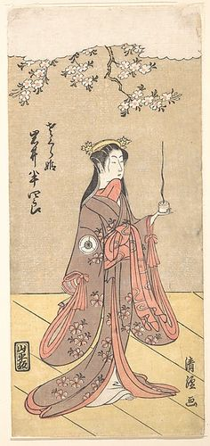 Torii Kiyotsune (Japanese, active ca. 1757–1779). The Actor Iwai Hanshirō IV as Sakura Hime, the Cherry Princess, 1767. The Metropolitan Museum of Art, New York. Harris Brisbane Dick Fund and Rogers Fund, 1949 (JP3096) #spring #asianart100