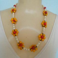 Instruções Origami, Beaded Jewelry, Beaded Necklace, Button Necklace, Poppies, Beading, Elephant, Flowers, Handmade