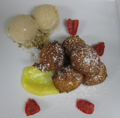 Lemon Ricotta Fritters with Lemon Curd and White Chocolate Ice Cream