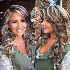 Flaw free 🙌🏻 Hair and makeup on point 😝 touched up her lowlights to a gorgeous ash brown and a glaze to brighten those pearly blonde highs! Grey Balayage, Bayalage, Hair Color Highlights, Chunky Blonde Highlights, Blonde Hair Brown Lowlights, Hair Highlights And Lowlights, Hair Color And Cut, Free Hair, Hair Dos