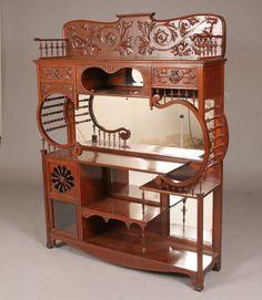 victoriano/Art Nouveau  PLATAFORMA con espejos de cristal biselado