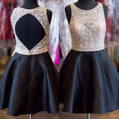 A-line Scoop Neck Beaded Homecoming Dresses, Amazing Beaded Satin Homecoming Dresses, Black and White Open Back Homecoming Dresses, #020102556