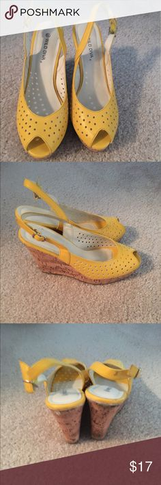Yellow wedge sandals Yellow perforated sling back sandals. Peep toe. Size 7. Shoes Sandals