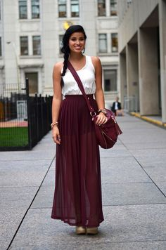Against Nudity white lace top + burgundy maxi skirt