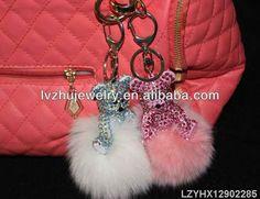 fur ball Rhinestone bear keychains LZYHX12902285