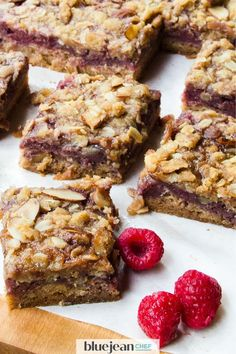 Raspberry Crumble Bars are so easy! This recipe uses fresh raspberries and store bought jam for the filling. These raspberry almond fruit squares are extremely versatile. Any combination of fruit and jam can be used to make this dessert, so use what is in Raspberry Crumble Bars, Raspberry Filling, Blue Jean Chef, Almond Paste, Elegant Desserts, Sweet Tarts, Air Fryer Recipes, Dessert Recipes, Desserts