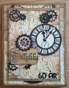 card for men masculine clock gears gear embossingfolder with clocks Masculine Birthday Cards, Birthday Cards For Men, Masculine Cards, Paper Cards, Diy Cards, Steampunk Cards, Chrismas Cards, Spellbinders Cards, Retirement Cards