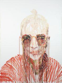 Chrissy Angliker (Swiss, b. Zurich, Switzerland, based Brooklyn, NY, USA) - Sunset Self Portrait, 2011  Paintings: Acrylics on Canvas