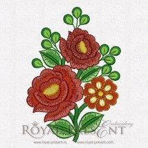 Machine Embroidery Design - Red Flowers