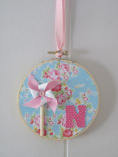 Shabby Chic Embroidery Hoop Art Pink Floral Roses by LaurasCraft