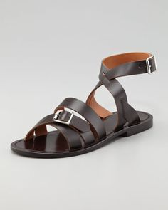 Double-Buckle Flat Ankle-Wrap Sandal, Dark Brown by Marni at Neiman Marcus.
