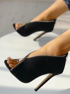 6714c09d900a Suede Zipper Design Peep Toe Heeled Boots