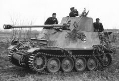 "The Marder III is the name for a series of World War II German tank destroyers built on the chassis of the Panzer 38(t). The German word Marder means ""marten"" in English. They were in production from 1942 to 1944 and served on all fronts until the end of the war."