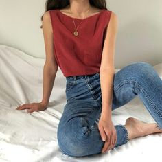 Sleeveless red blouse with gold pendant paired over light wash distressed blue jeans perfect for a causal summer or spring outfit. Look Fashion, Autumn Fashion, Fashion Outfits, Womens Fashion, Fashion Trends, Fashion Clothes, Earthy Fashion, Fashion Ideas, Fashion 2017