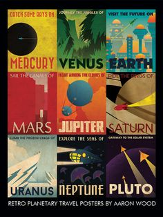 Travel the Solar System with this Retro Planetary Travel Poster! Poster measures 18 x 24 and is printed on 80# glossy poster stock. Collects all 9 Retro Planetary Travel Posters onto one poster.