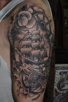 Boat and Flower Tatt