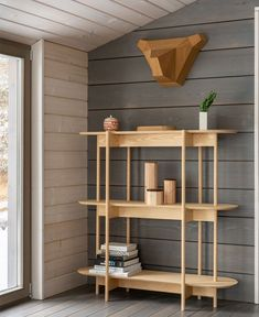 HOME is an interior project initiated by architectural buro and furniture brand Delo Design. Local product designers collaborated to create an image of a modern Wood Shelves, Floating Shelves, August Home, Modern Shelving, Interior Decorating, Interior Design, Home Projects, Home Goods, Furniture Design