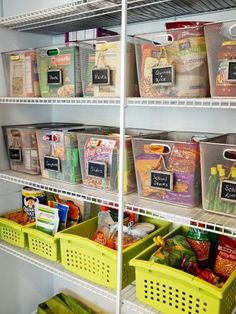 Take your pantry to the next level with see-through, pull-out baskets with easy-to-read labels. Grabbing a snack and heading out the door has never been easier (or looked so good).