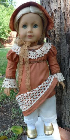 18 Doll Clothes Regency Style Gown and Bonnet by Designed4Dolls