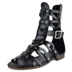 Womens Flat Sandals Faux Leather Gold Stud Caged Gladiator Shoes Black fashion style outfit summer footwear