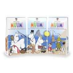 Three different Moomin chocolate boxes together. Chocolate Boxes, Chocolate Buttons, Moomin Shop, Product Design, Milk, Graphic Design, Character, Food, Essen