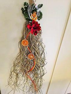 お正月飾り ドライオレンジと赤いお花のモダンなお飾りです。