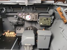 The interior of a Sdkfz 250 light armored halftrack.