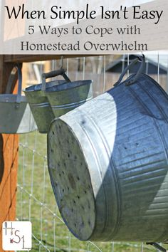 For those days when simple isn't easy, use these 5 ways to cope with homestead overwhelm and enjoy a lifestyle of voluntary simplicity. Homestead Farm, Homestead Living, Homestead Survival, Survival Skills, Survival Gear, Survival Shelter, Camping Survival, Emergency Preparedness, Mini Farm
