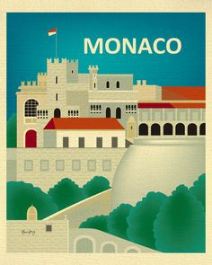 ARTIST INSPIRATION:  This is a vertical print of Monaco, France. The scene I selected is the Princes Palace of Monaco. Its graphic rendering is of a stylized palace with a retro influence of bold shapes. I selected neutrals to make up the palace and tower and then contrasted the scene against a jeweled palette of blue skies and green shrubbery. SELECT BETWEEN 3 MATERIALS: 1) Organic cream colored 80 lb. weight, subtle tooth texture, flecked with recycled speckles, 100% recycled post-consumer…
