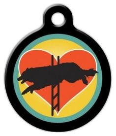 This pet identity tag features an agility dog taking a jump in silhouette. It also has a colorful heart and circle background.Each of our pet identity tags are designed and illustrated by artists from all over the globe, and printed with affection and care in the mountains of North Carolina. They are ultra-durable and are guaranteed to always be legible.