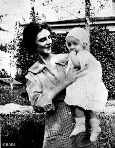 Billy at age six months posed with his mother for his first photo. (1918)