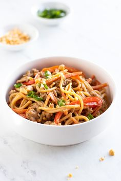 Low FODMAP Thai peanut noodles feature whole-grain brown rice spaghetti, lean ground turkey, and colorful FODMAP-free veggies tossed in a Thai-inspired peanut sauce. This low FODMAP meal can be ready in about 30 minutes. #lowfodmap #turkey #30minutemeal Supper Recipes, Spicy Recipes, Healthy Recipes, Diet Recipes, Pasta Recipes, Healthy Food, Rice Noodle Recipes, Brown Rice Recipes, Low Fodmap Vegetables