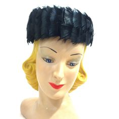 Glam Black Feather Trimmed Pillbox Hat circa 1960s - Dorothea's Closet Vintage