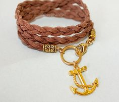 Boho Triple Wrap Bracelet - Gold Nautical Anchor Charm - Braided Microfiber Faux Suede Gypsy Bohemian Wrap - Pick COLOR / SIZE - Usa - 717