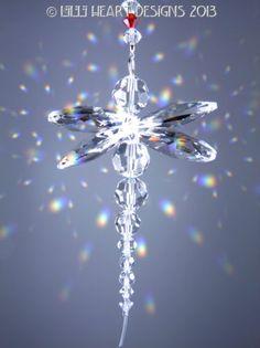 m/w Swarovski Crystal Clear Rainbow Dragonfly Suncatcher Lilli Heart Designs Swarovski Crystal Figurines, Swarovski Crystals, Dragonfly Pendant, Beaded Dragonfly, Star Ornament, Sea Glass Jewelry, Crystal Jewelry, Chakra Crystals, Suncatchers