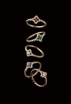 Venetian Quatrefoil rings with gemstones and diamonds.