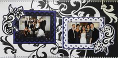 Scrapbook Page - Black & White page of the Bride & Groom - 2 page layout with flowers - from Wedding Album 1