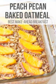 This make-ahead breakfast recipe is made with fresh or frozen peaches, crunchy pecans, and oats. It's also perfect for meal prep and family friendly! #breakfast #breakfastrecipes  #oatmeal #mealprep Healthy Breakfast Options, Vegetarian Breakfast Recipes, Make Ahead Breakfast, Sweet Breakfast, Vegetarian Meals, Breakfast Ideas, Peach Baked Oatmeal, Baked Oats, Snapchat