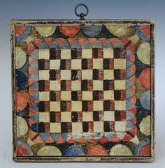 American Painted and Incised Gameboard, selling January 19th 2014 www.fairfieldauction.com