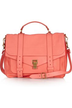 Peach leather satchel