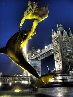 Girl and Dolphin fountain - Tower Bridge London