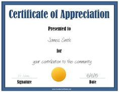 Nice editable certificate of appreciation template example with blue certificate of appreciation template with a gold award ribbon yelopaper Images