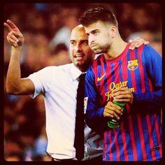 Gerard Pique. Pep Guardiola. Messi, Barca, fcb