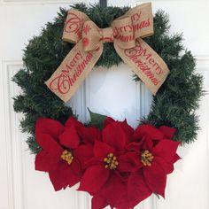 Christmas Wreath Poinsettia Wreath Christmas by KTSeasonalWreaths