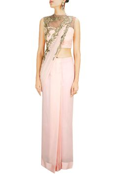 Light pink 3d metal embroidered sari BY GAURAV GUPTA. Shop now at: www.perniaspopups... #perniaspopupshop #designer #stunning #fashion #style #beautiful #happyshopping #love #updates