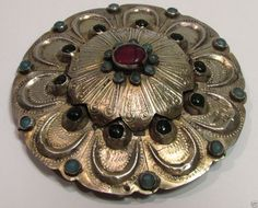 Sterling Silver  Cassock Ruby Button Pin